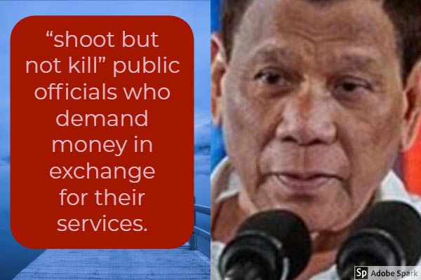 'Shoot, but don't kill' corrupt officials, President Duterte tells