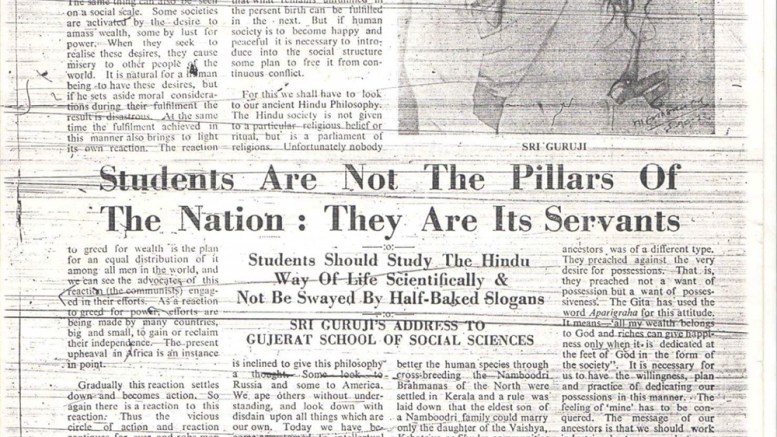 Students are not the pillars of the nation - Golwarkar