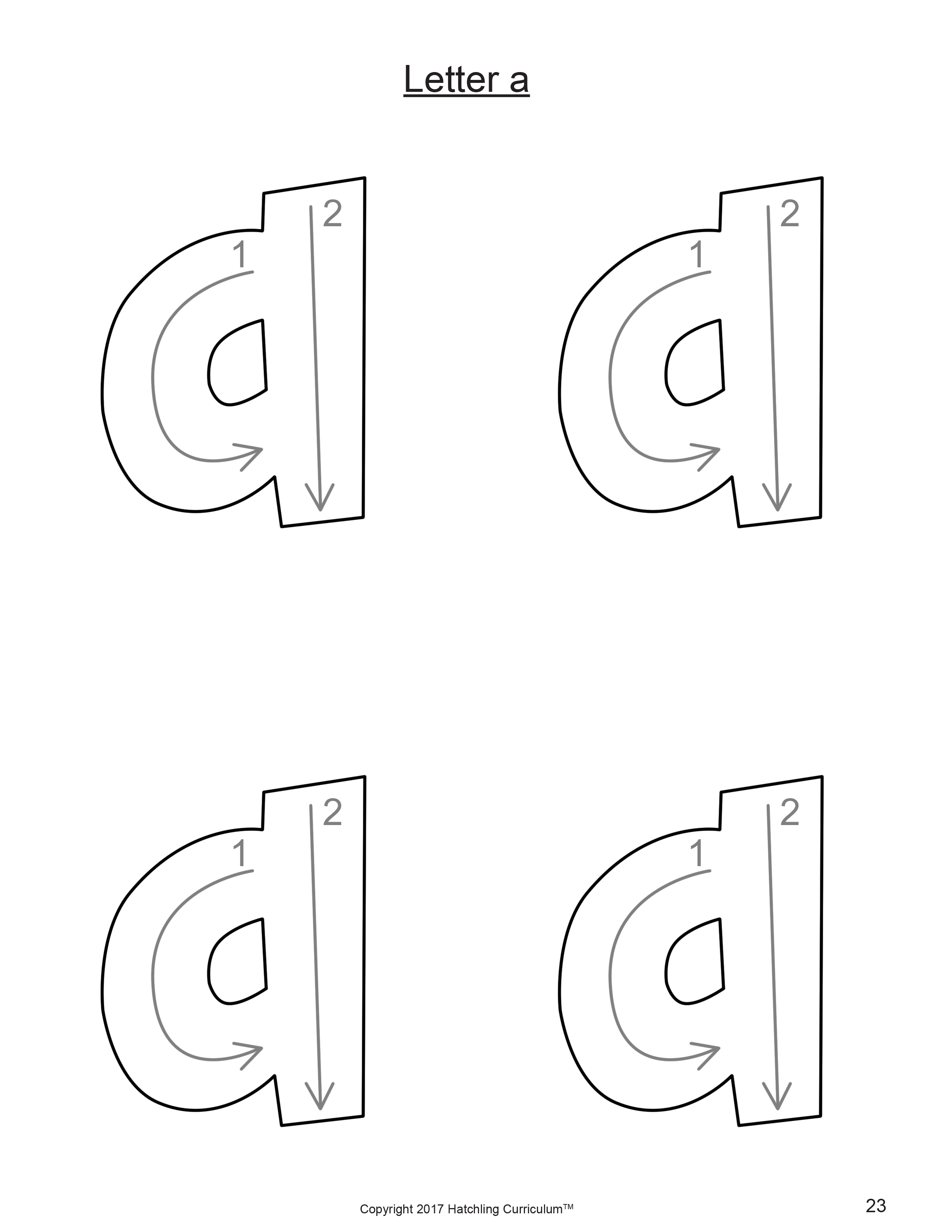 Lowercase A Tracing