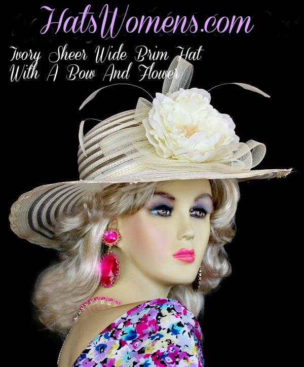 Ladies Ivory Wide Brim Designer Wedding Fashion Derby Hat, Dress ...