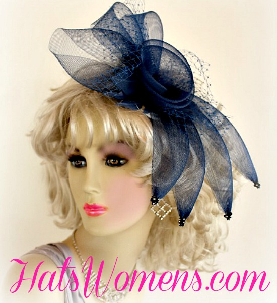 Ladies Nay Blue Crinoline Cocktail Hat For Wedding Guests Black Headpiece Womans Ivory Church Bridal