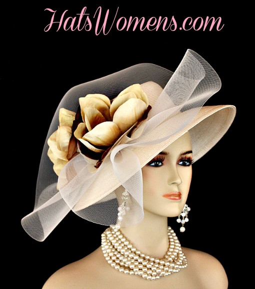 ee6c961bb5061 Ivory Beige Formal Lampshade Wide Brim Special Occasion Wedding Hat With  Flowers, Races Bridal Dress Hats
