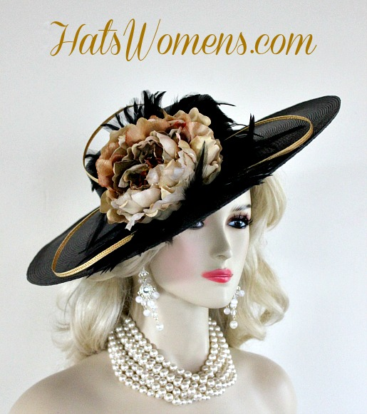 56848552 Black Brown Beige Green Ivory Gold Designer Hats, Melbourne Cup Hats,  Kentucky Derby Hats · Ladies Black Fashion ...