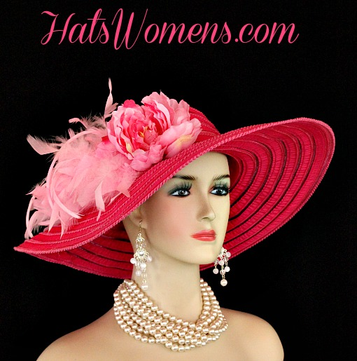 e411e5c2 Ladies Hot Pink Kentucky Derby Hats, Hot Pink Church Hats With Feathers  Flowers, Church · Women's Hot Pink Wide Brim ...