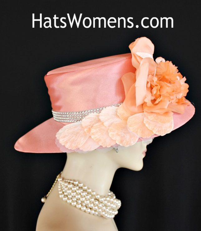 e377290a Women's Special Occasion Designer Peach Satin Wide Brim Hat, Dress Hats  With Flowers, Kentucky