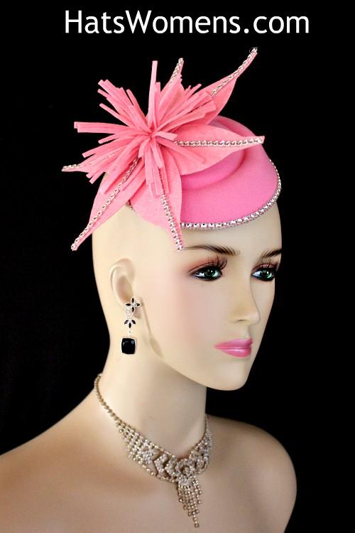 105b8f9c Ladies Pink Felt Mini Pillbox Hat Wedding Fascinator, Bridal Fascinator  Headpiece, Hats For Formals
