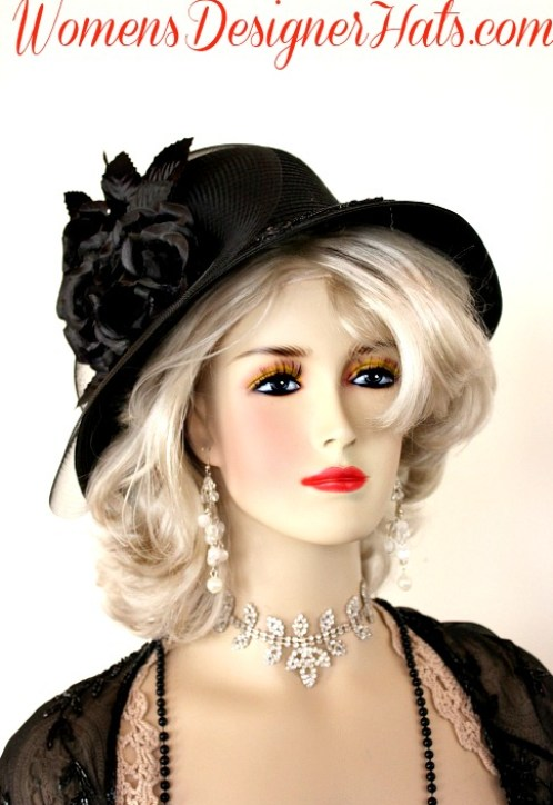 Black Dress Fashion Hat With Roses Womens Designer Church