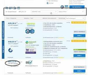 check- 24 - Anpassung bei jährlichem Wechel; Quelle: Screenshot