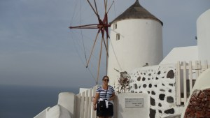 Me in front of a very picturesque windmill in Oia, Santorini, Greece. (Which I walked over 6 miles to get to...Oia, that is. not just the windmill.)