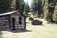 Several of Garnet's remaining miner's cabins - Image from Wikipedia