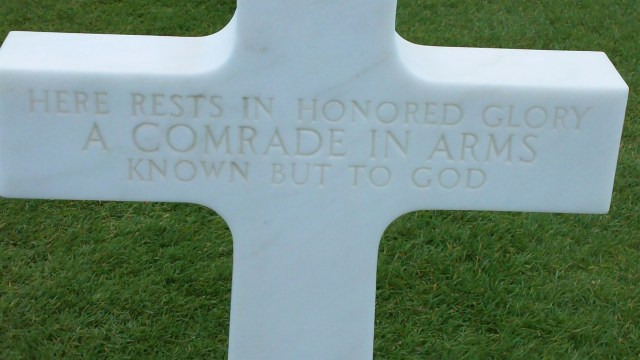 An unknown soldier at Normandy American Cemetery.