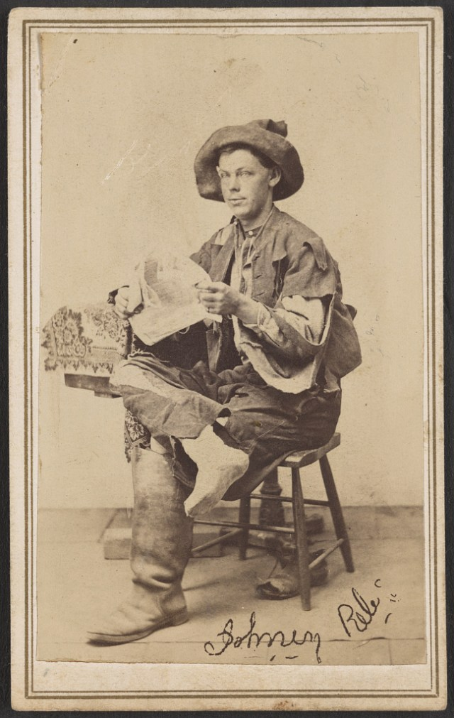 A Rebel Prisoner at Point Lookout photographed by L.V. Newell, courtesy of the Library of Congress.