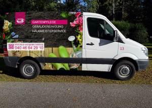 Fahrzeugwerbung von Haus und Garten