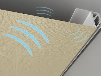 Mit Decken- und Wandverkleidungen kann der Schall in Gebäuden deutlich rediziert werden. (Foto: Baumann Spanndecken)