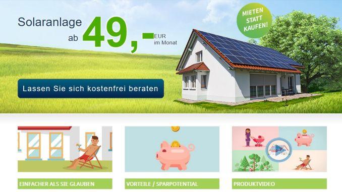 Screenshot der Webseite der MEP Werke. Deren Mietmodell für Solaranlage wird auf facebook und im Direktvertrieb stark beworben.