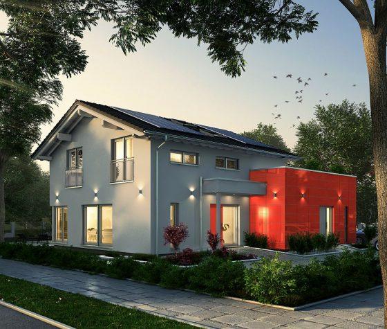 OKAL baut in Günzburg ein modernes Generationenhaus, das vielfältige Nutzungsmöglichkeiten bietet. Das Haus ist mit dem DGNB-Nachhaltigskeitszertifikat als besonders nachhaltiges Haus ausgezeichnet und erfüllt den Effizienzhaus 40 Plus Standard. (Abbildung: OKAL Haus GmbH)