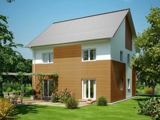 Fertighäuser kommen heute für jeden Anspruch und jedes Budget. Hier im Bild ein Haus von OKAL, das mit seiner Fassadengestaltung auffällt. (Foto: OKAL Haus GmbH)