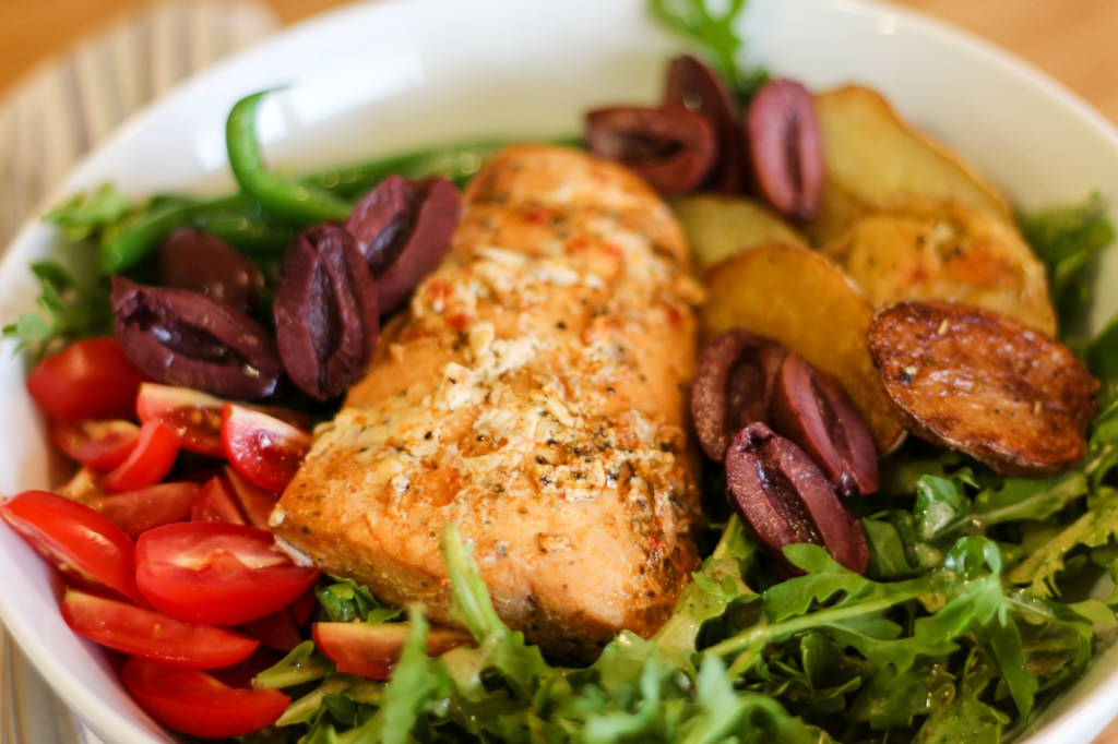 healthy salmon nicoise salad