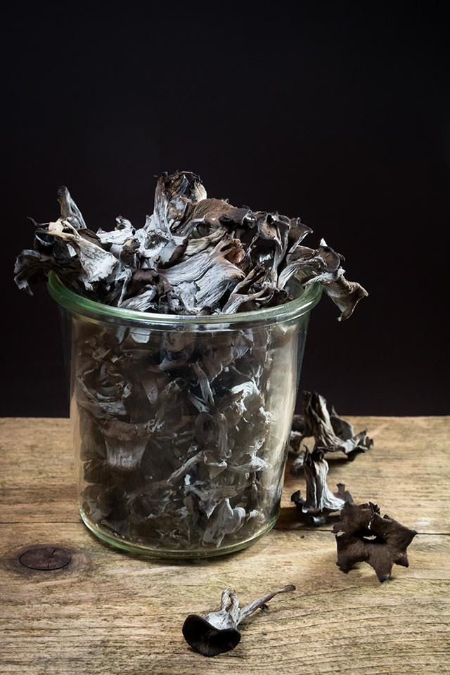 Totentrompeten, Herbstrompeten, Wild, Rezept, Pilze sammeln