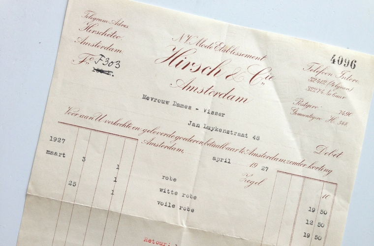 een rekening van Hirsch & Cie Amsterdam