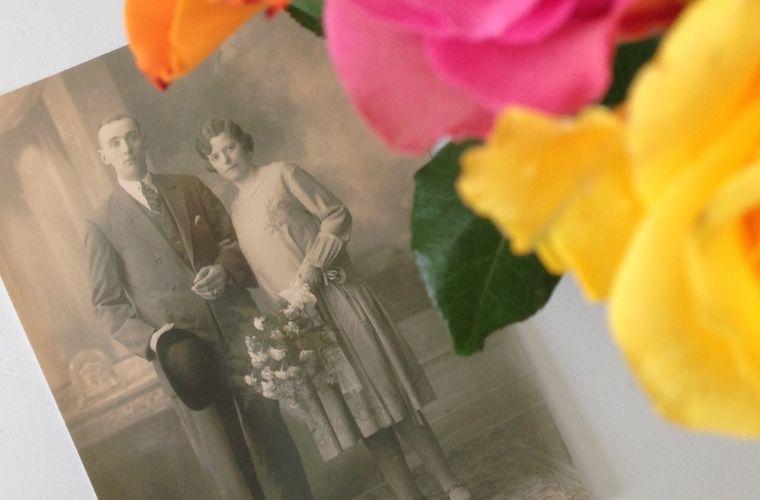 Trouwfoto David van Dalen en Truitje van Dalen-Helmers, 1927.