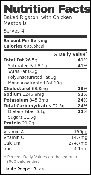 Nutrition label for Baked Rigatoni with Chicken Meatballs