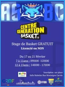 Centre Génération Basket - ASB Carvin @ Carvin
