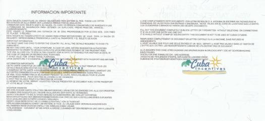 Rückseite der Touristenkarte Kuba mit Stempel des Ausstellers. Fehlt dieser ist die Karte nicht gültig.