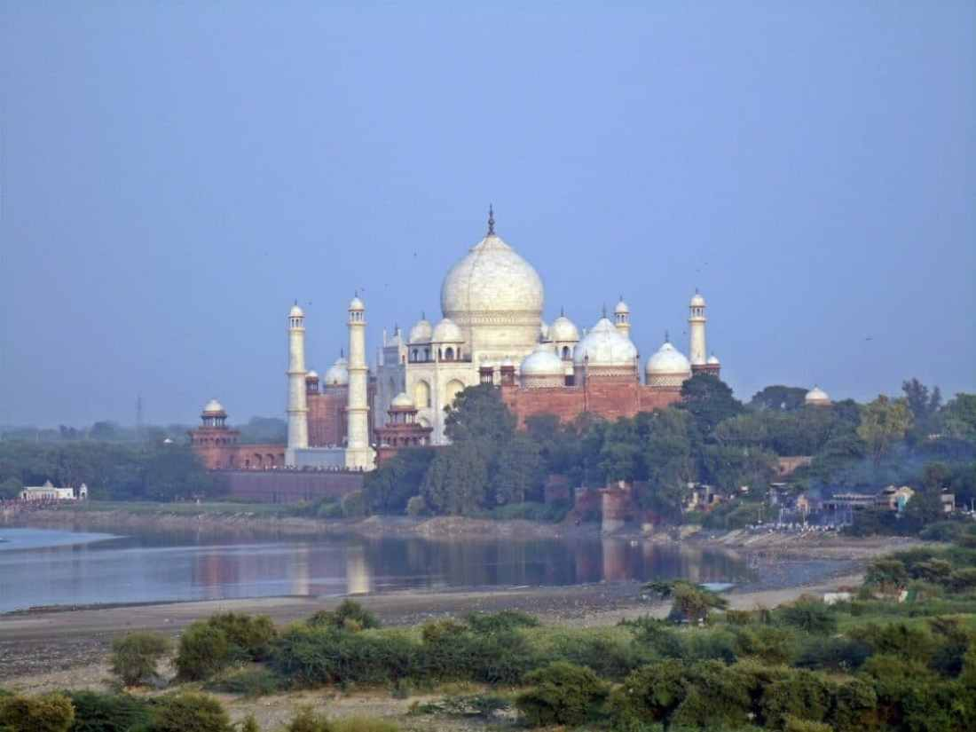 The view of the Taj Mahal from Agra Fort.