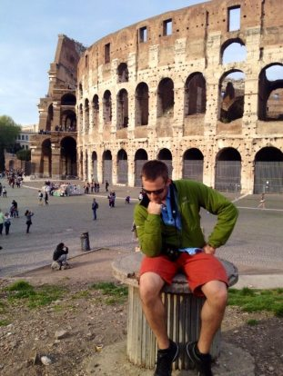"""""""The Thinker"""" pose by the Colosseum. Haha!"""