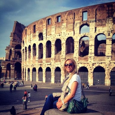 Having some fun by the Colosseum.