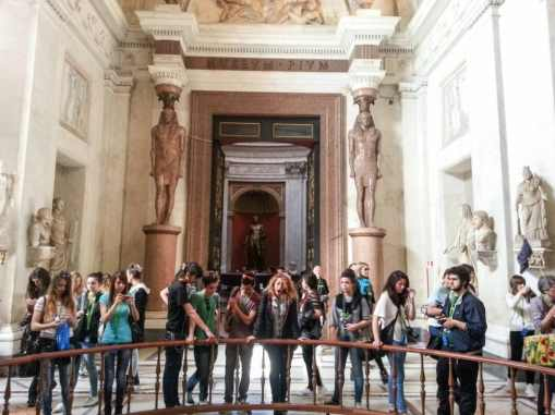 The Romans loved Egyptian art. The statues were taken from ancient Egypt.