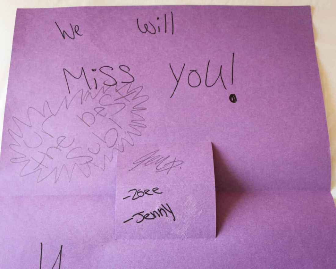 Some of my favorite 5th & 6th graders made me a card for my last day teaching.