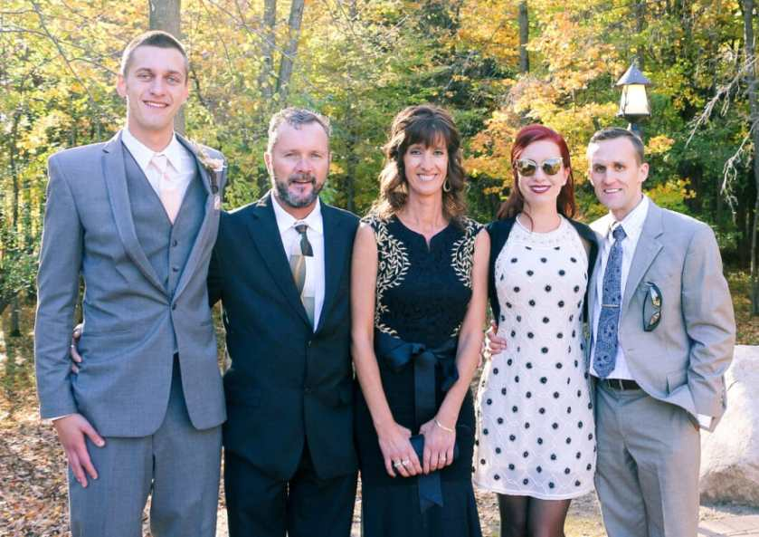My brother, step dad, mom, me and my husband.