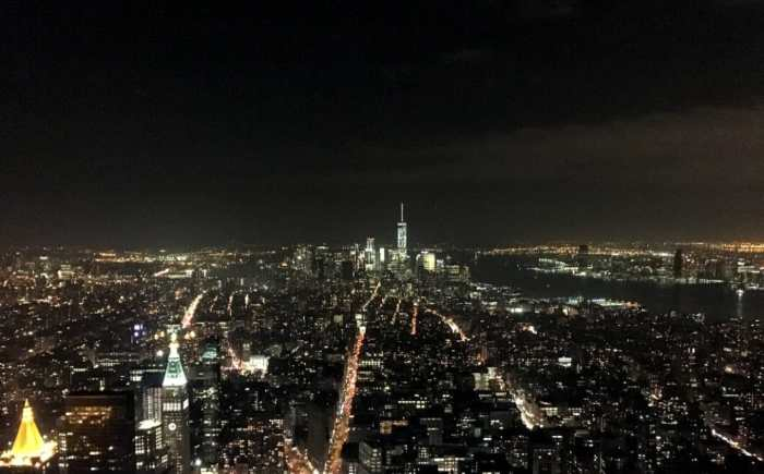 The Empire State building view of the city.