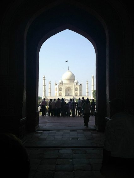 Our first glimpse of the Taj Mahal