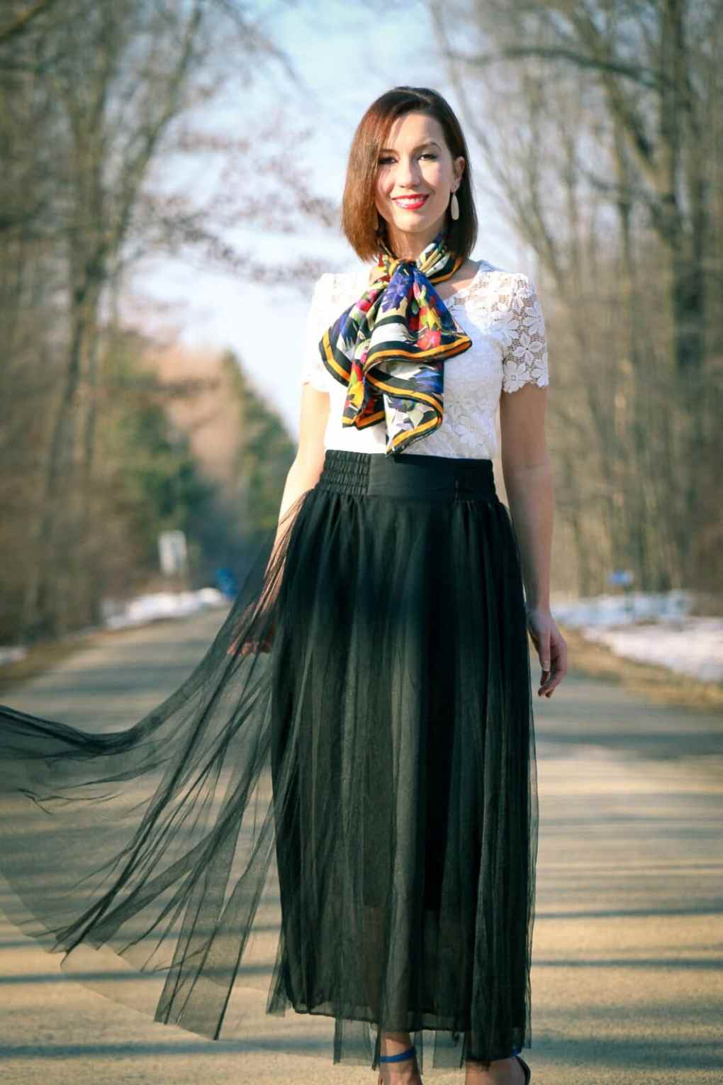 NewChic Tulle Skirt and Demon TZ scarf