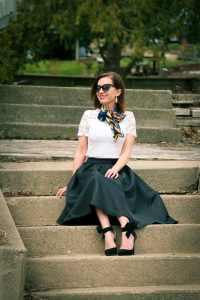 Romwe black midi skirt - stores like Shein