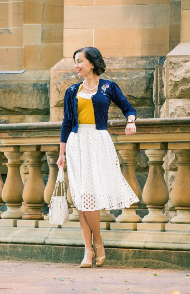 Midi skirt outfit for a christening
