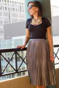 shein metallic skirt