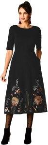 eShakti FX Floral Embroidered Cotton Knit Dress- Customizable Neckline, Sleeve & Length