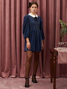 TABLE TALK Choux Velvet Mini Dress
