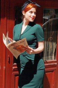 Vintage Lapel Collar Dark Green Bodycon Dress