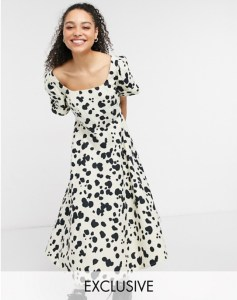 COLLUSION pointed waist puff sleeve animal print midi dress in beige and black