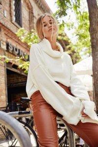 White Turtleneck and Oversized Sweater