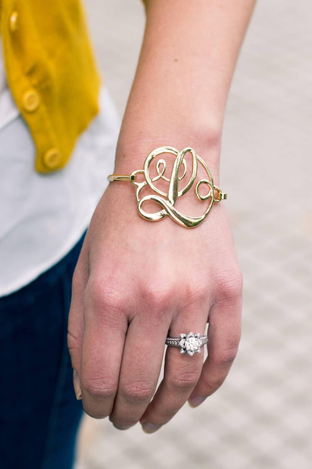 Letter L gold initial bracelet