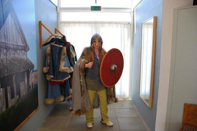 Julia getting to try some Viking garb in Denmark!