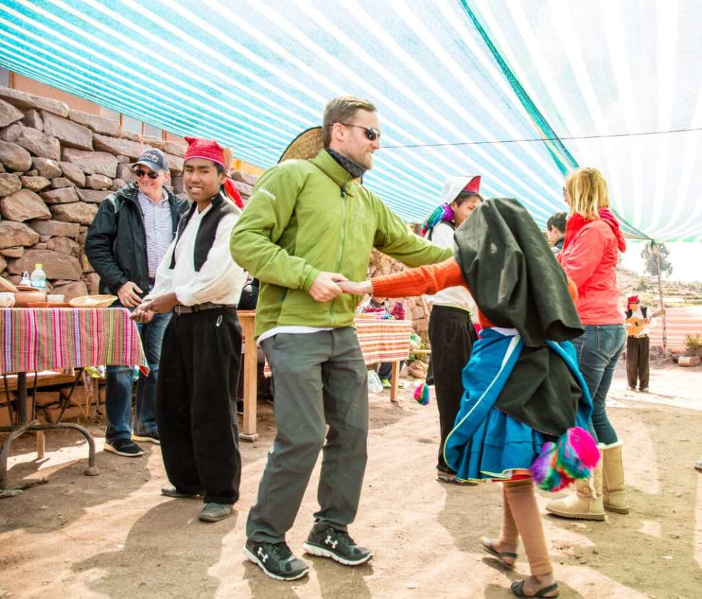 My husband participating in a dance on Taquile Island.