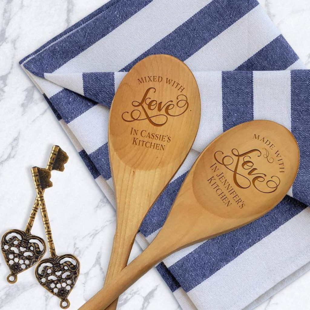Personalized Spoon - Wooden Kitchen Spoon - Baking Gift - Mixed With Love Spoon - Housewarming Gift - Engraved Wood Spoon - Gift For Foodie