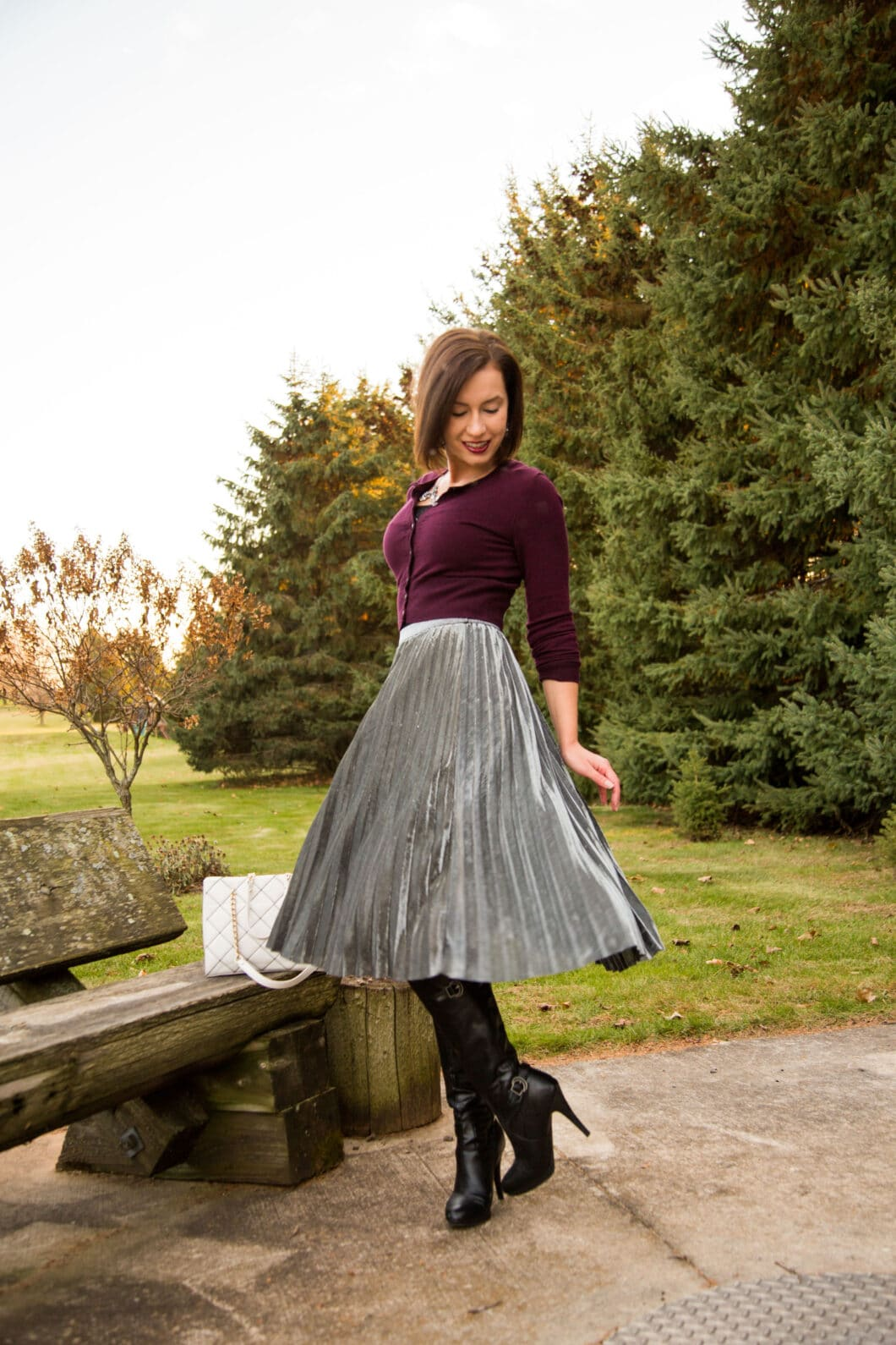 Metallic skirt for Christmas